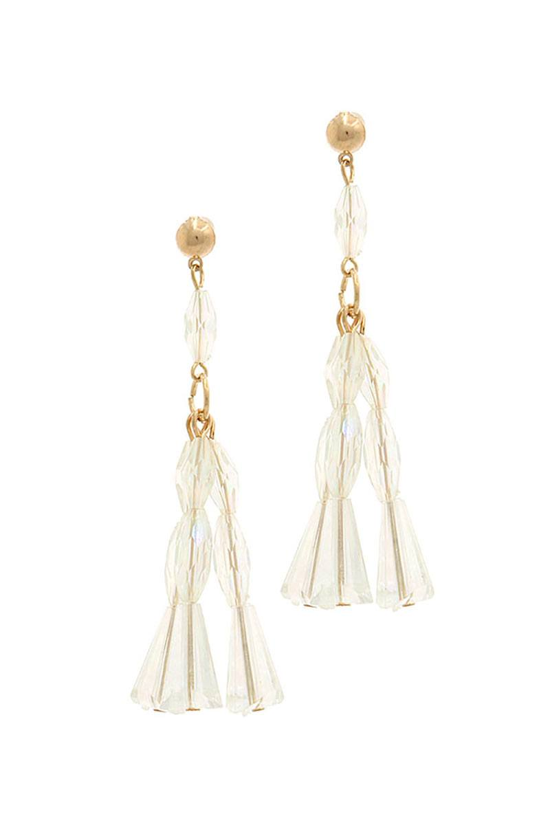 Lucite linked metal post drop earring