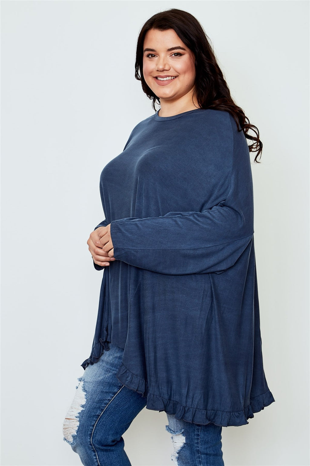 Ladies fashion plus size frill hem loose tunic top