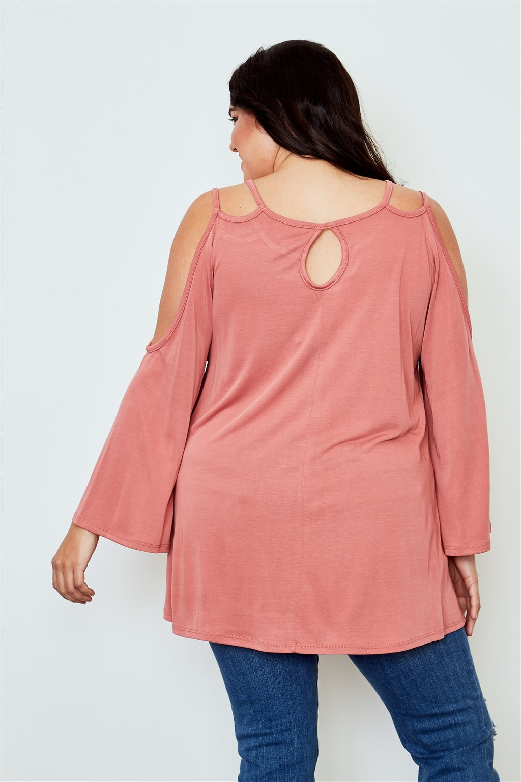 Ladies fashion plus size cold shoulder back keyhole top