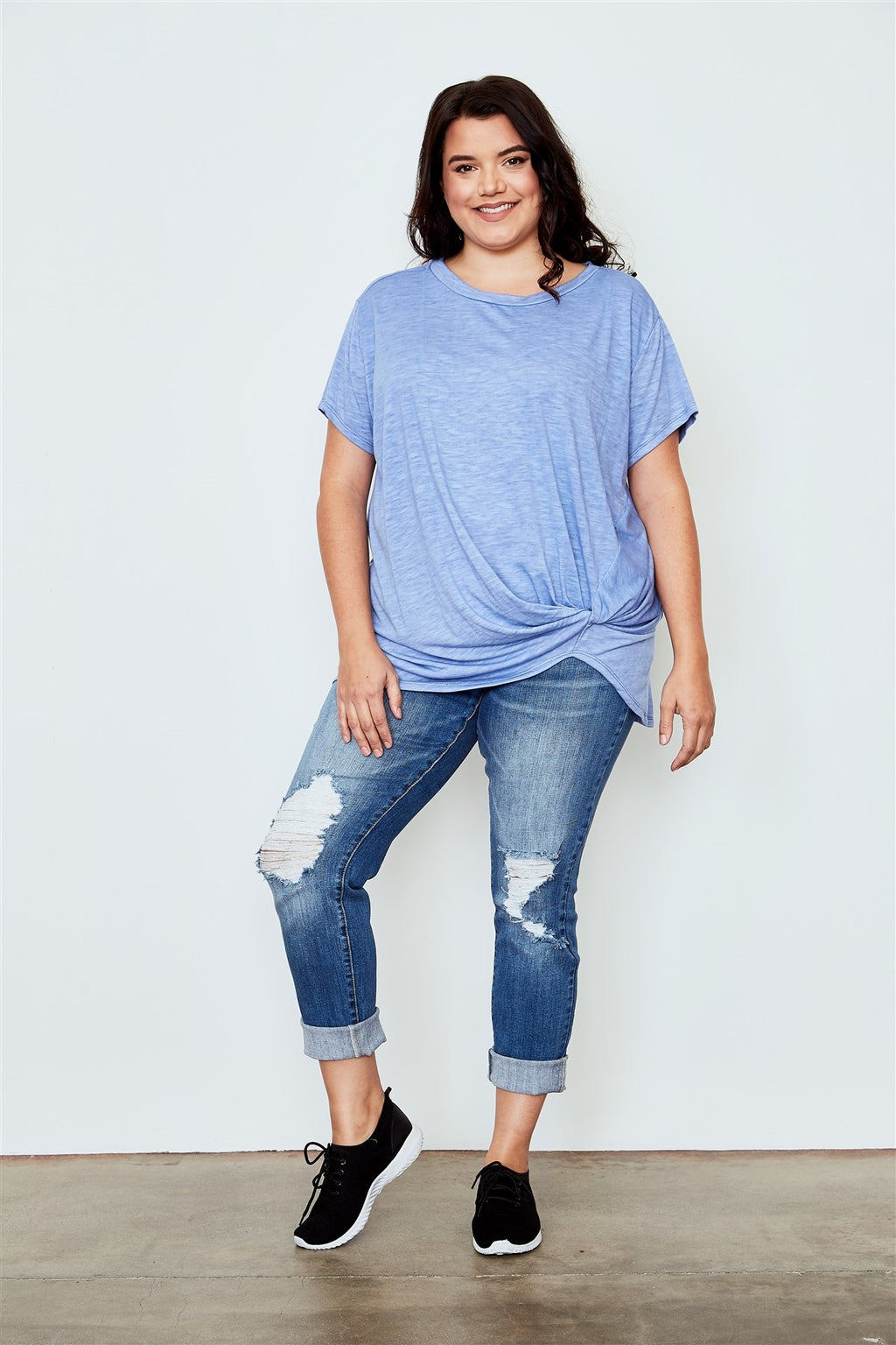 Ladies fashion plus size knotted front tee