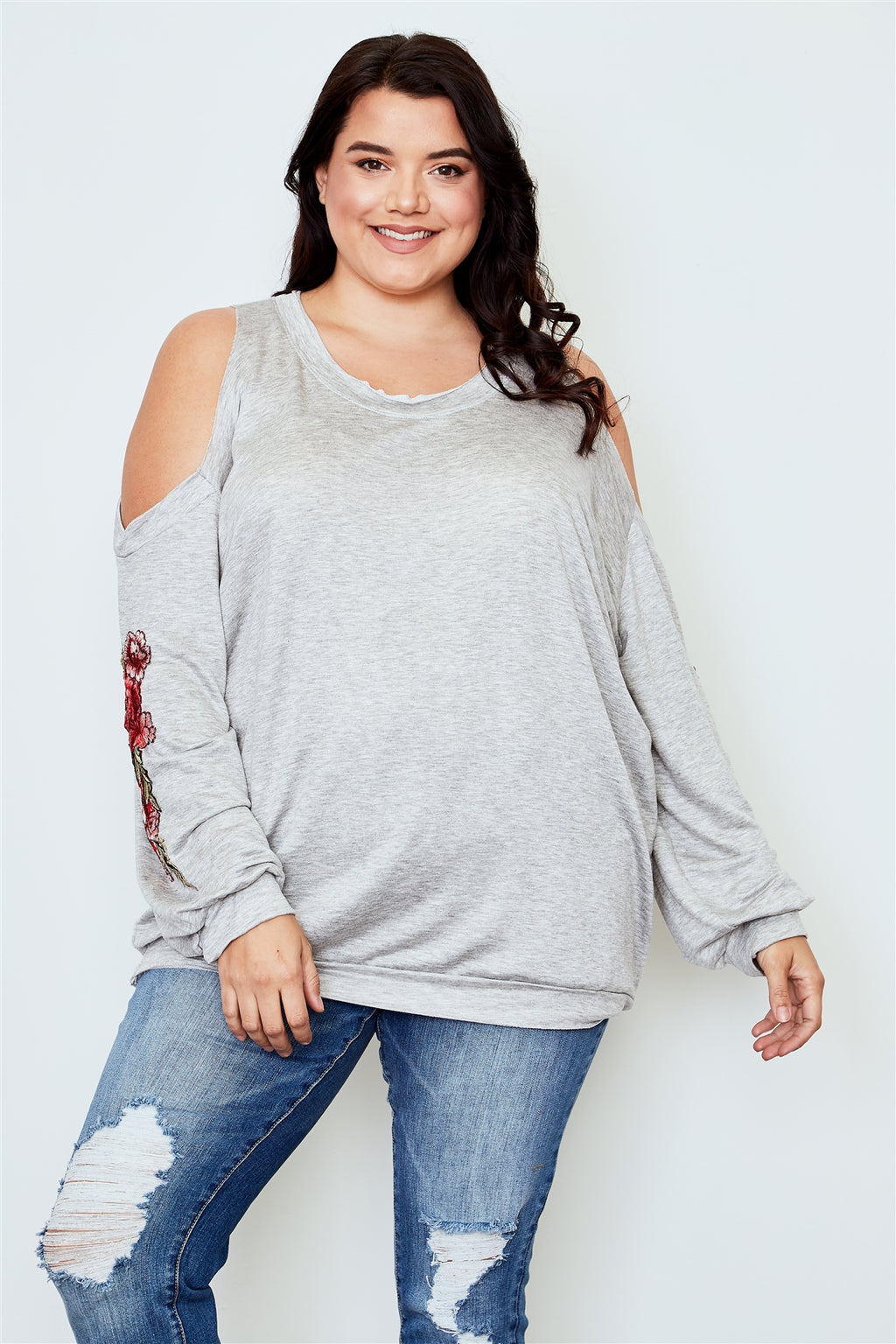 Ladies fashion plus size floral embroidered cold shoulder sweater