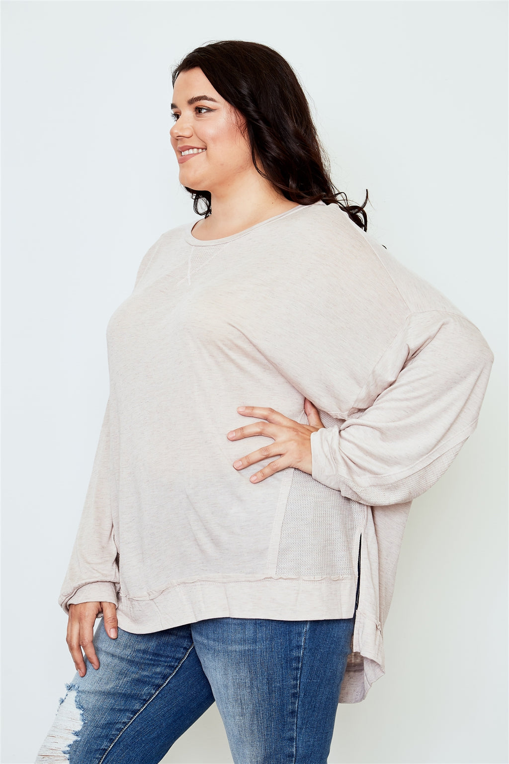 Ladies fashion plus size long sleeve loose top