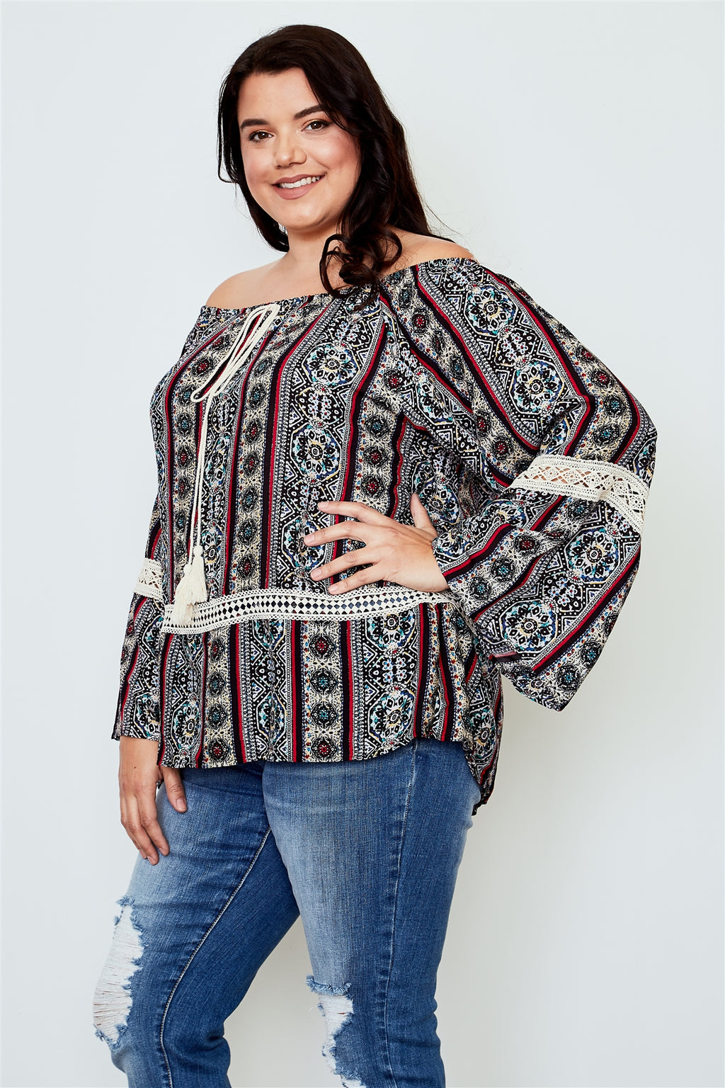 Ladies fashion plus size boho plus size multi tassel tie off the shoulder top