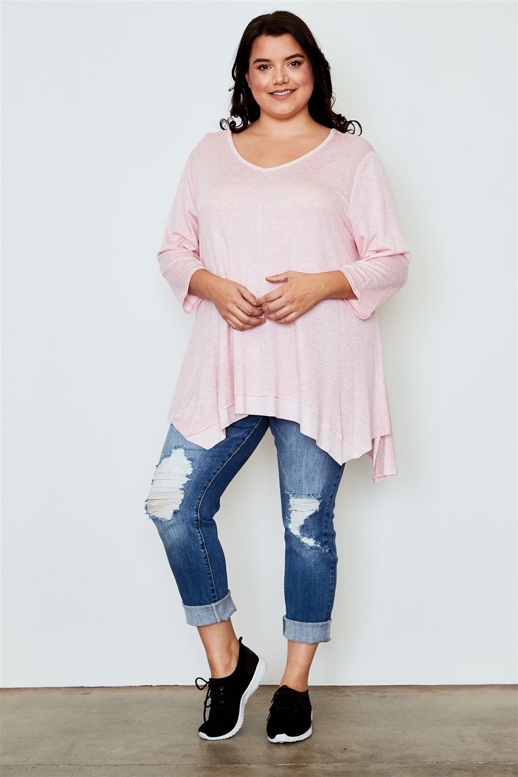 Ladies fashion plus size irregular hem tunic top