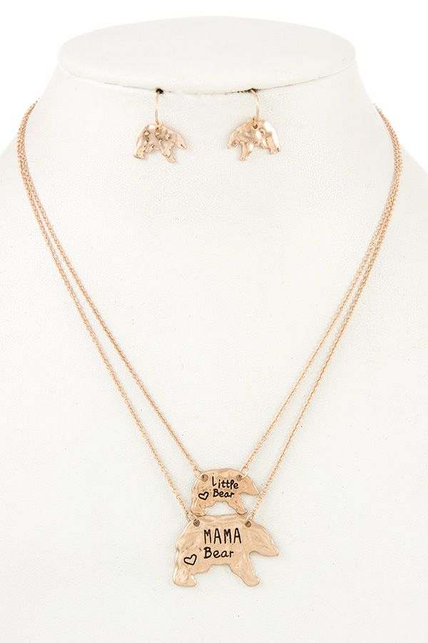 Mama bear and cub pendant necklace set