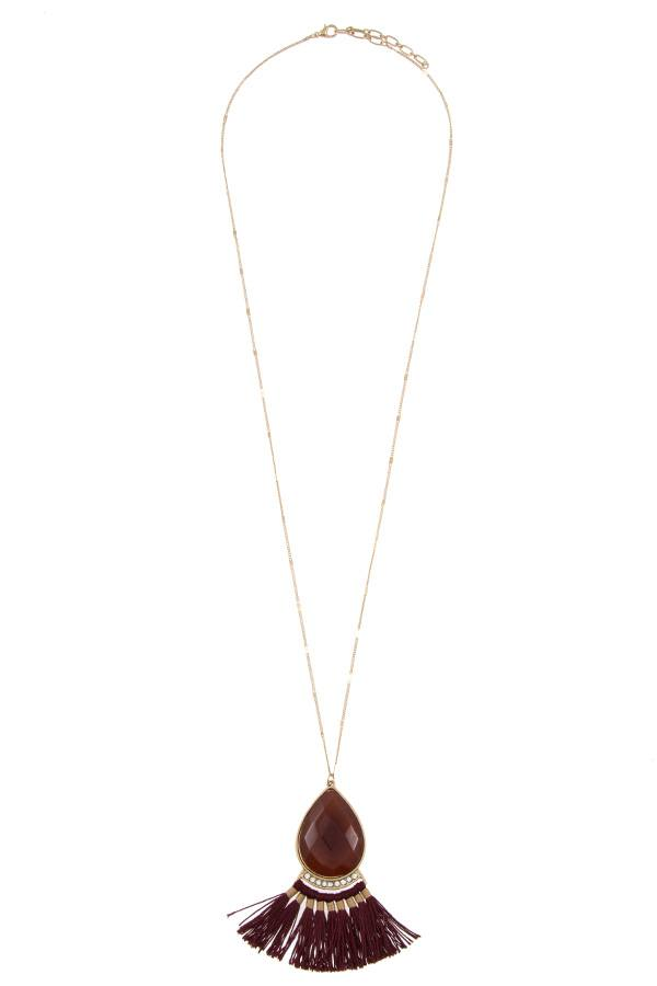 Faceted gem tassel link long necklace