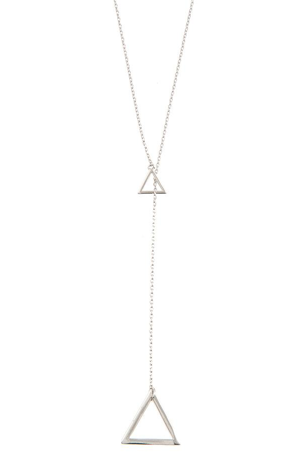 Double triangle pendant lariat necklace