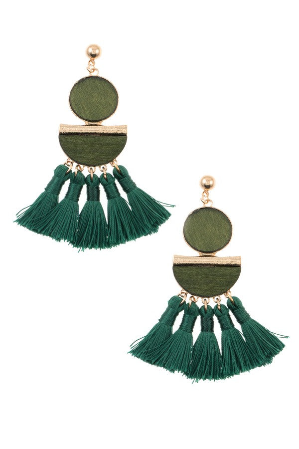 Mix shape link tassel drop dangle earring