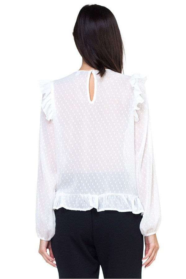 Lace trim swiss dot shirt