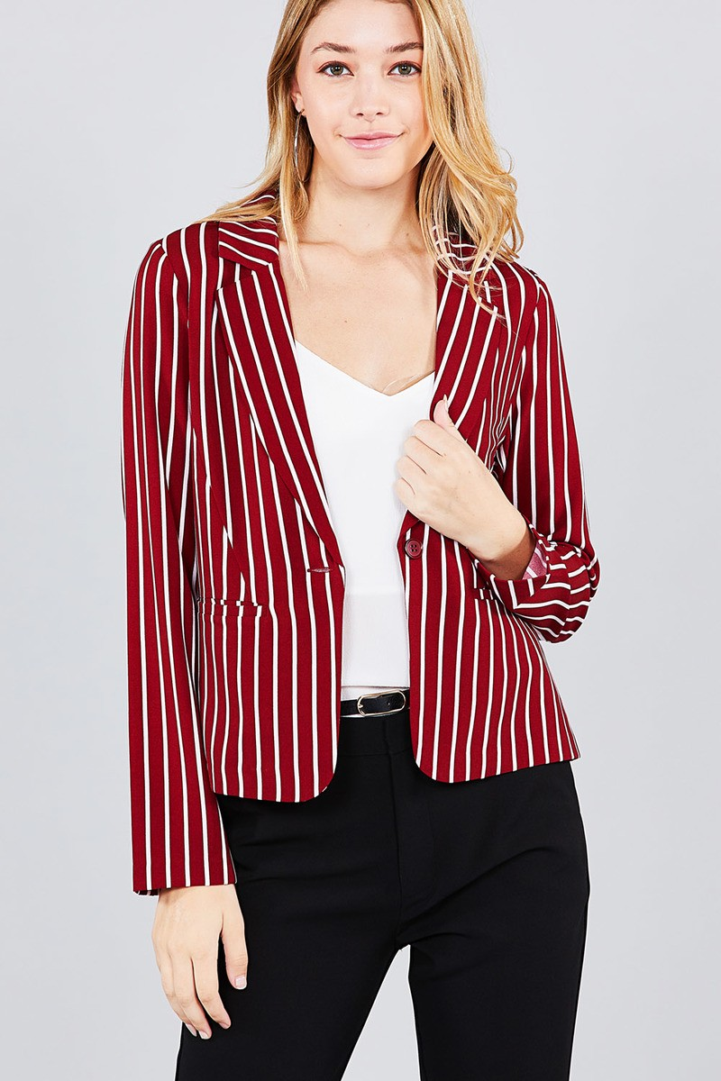 Long sleeve notched collar princess seam w/back slit striped jacket