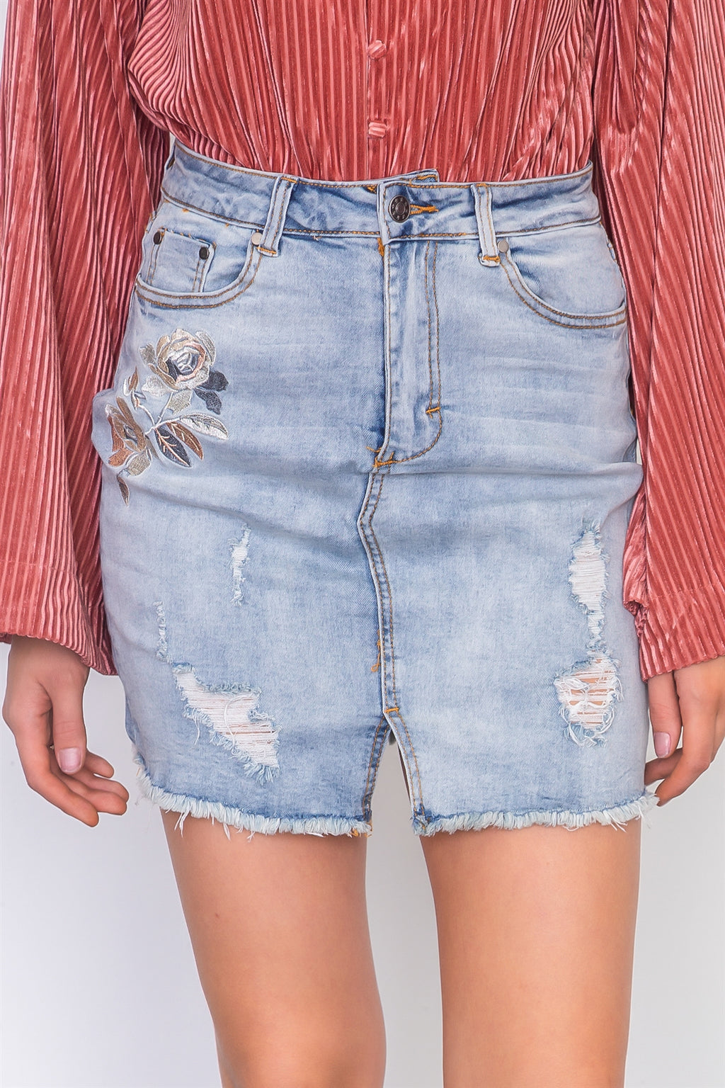 Denim floral embroidered distressed mini skirt