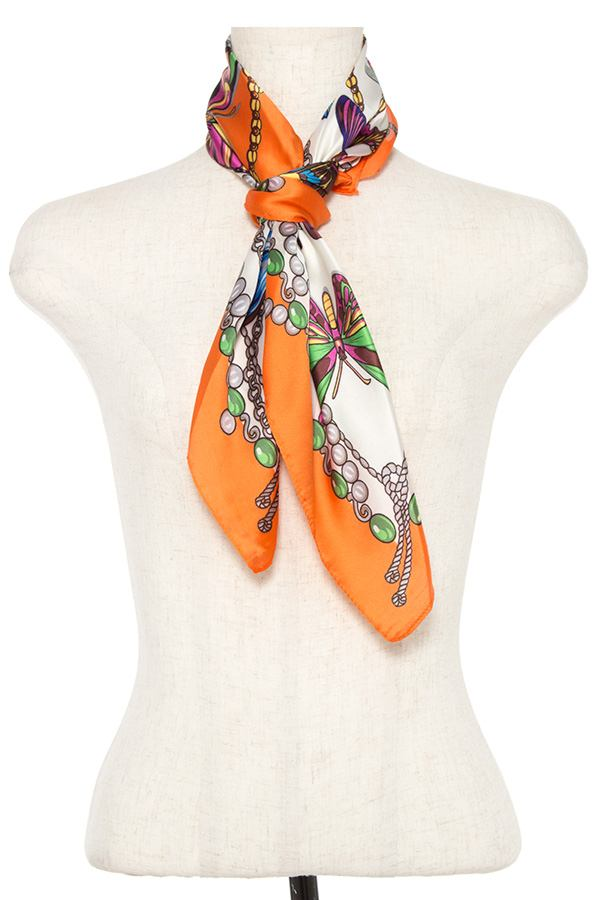 Butterfly mix silk scarf