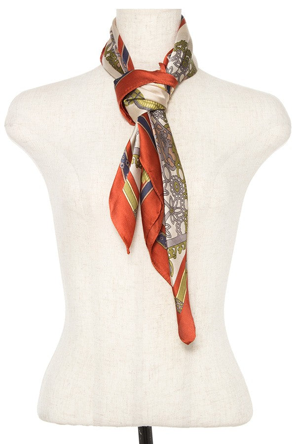 Mix pattern silk scarf