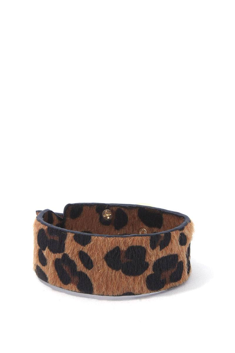 Animal print faux fur bracelet