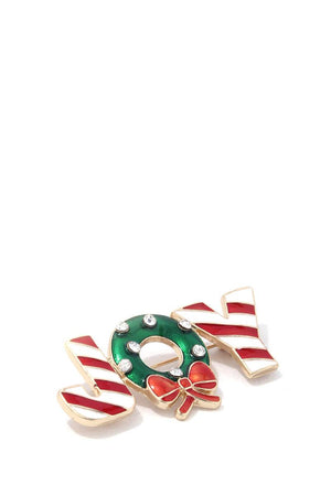 """joy"" christmas brooch"