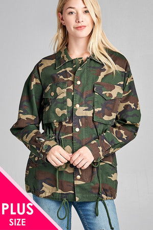 Basic collar front hidden button patch pocket over sized camo print utility jacket
