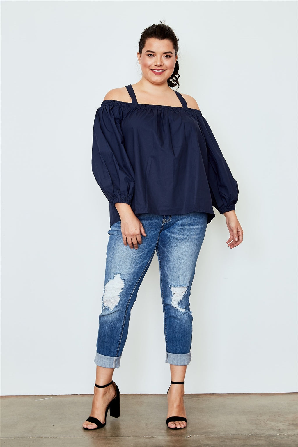 Plus size navy cold shoulder top