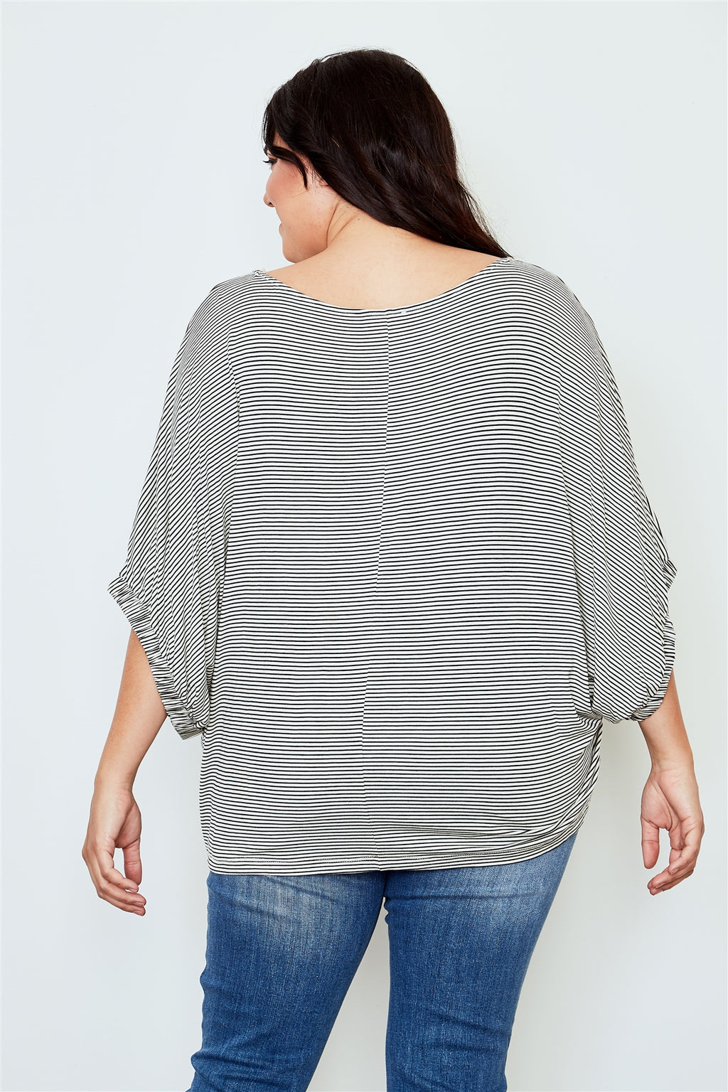 Plus size white stripe print batwing sleeves top