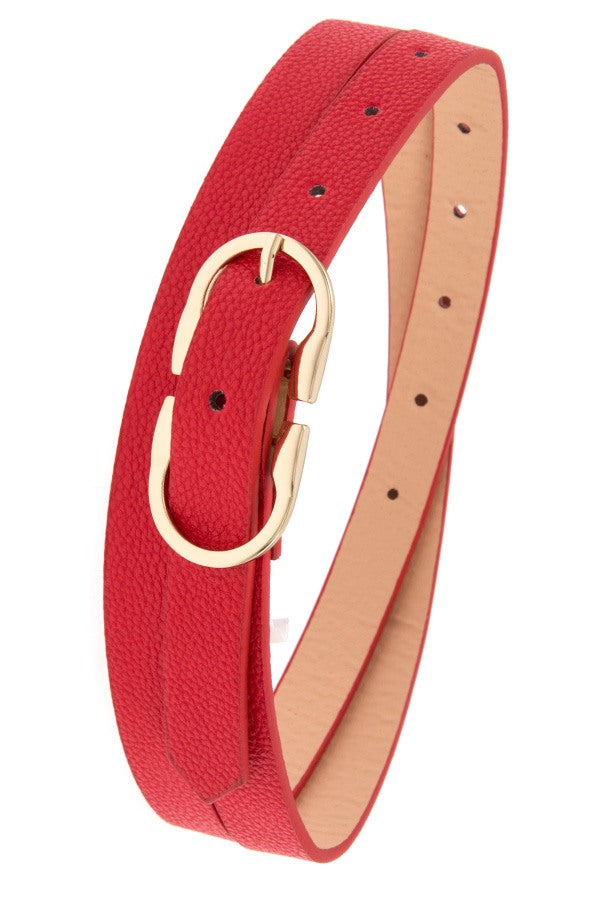 Thin faux leather belt