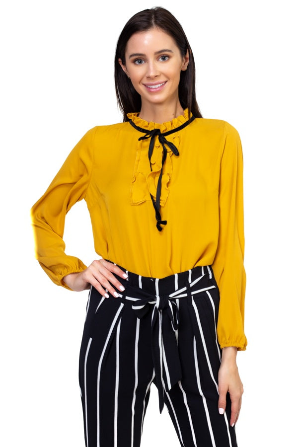 Ruffle mock pussycat bow shirt