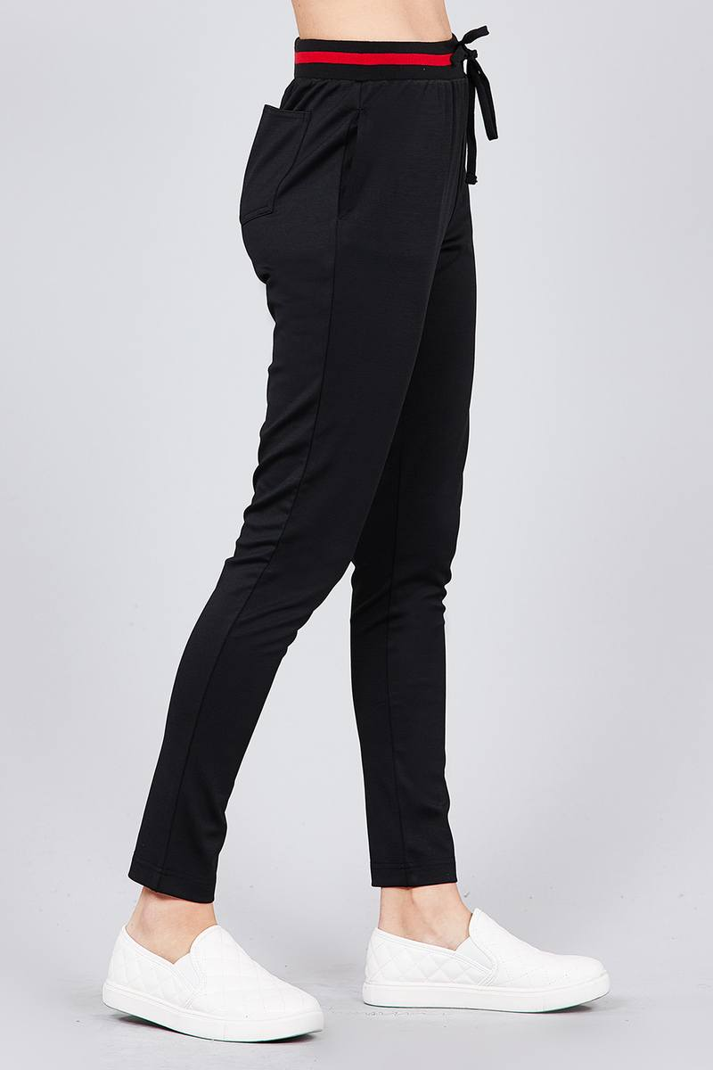 Contrast stripe patch pocket jacket and drawstring waist jogger pants set