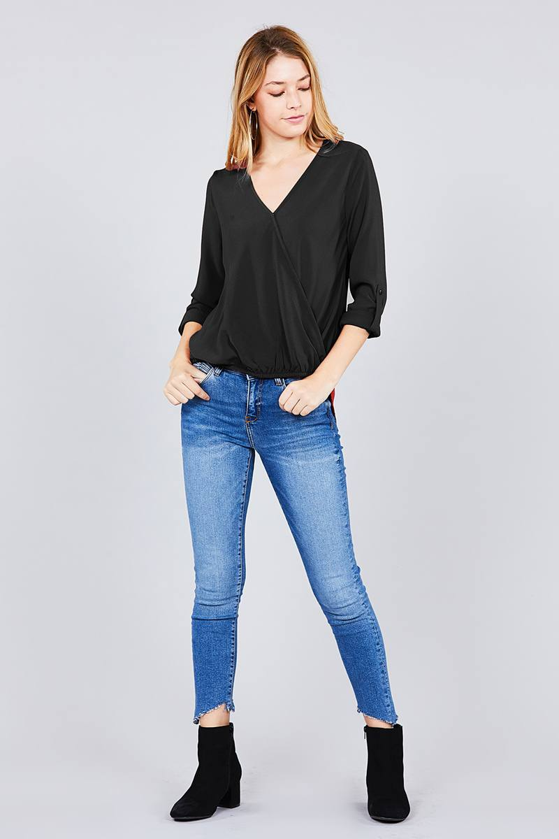 3/4 roll up sleeve v-neck w/surplice woven top