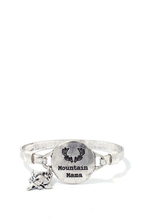"""mountain Mama"" Engraved Metal Bracelet"