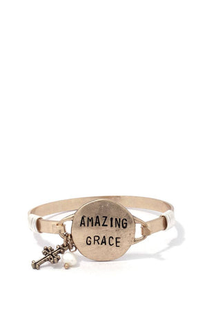 """amazing Grace"" Engraved Metal Bracelet"