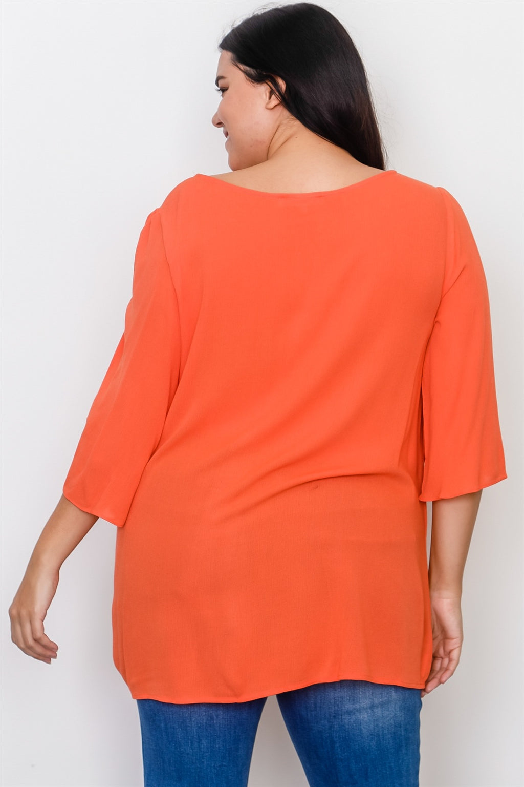 Plus Size Drawstring Sleeve Top