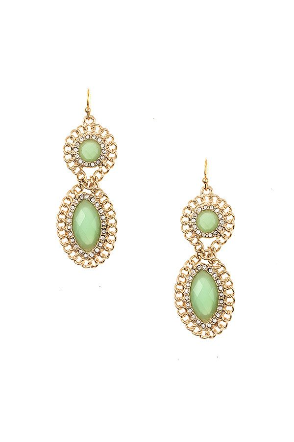 Double Drop Framed Gem Earring