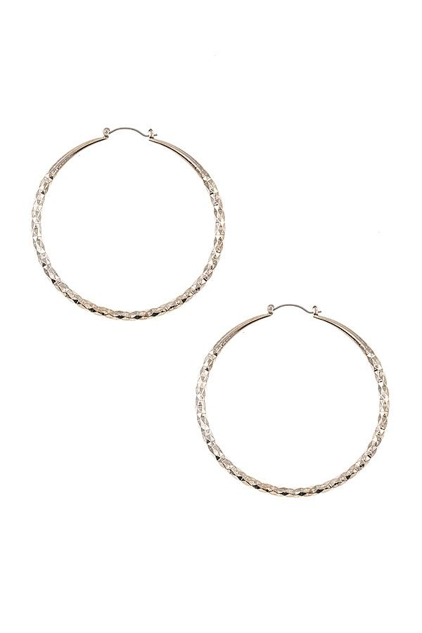 Diamond Textured Hoop Earring