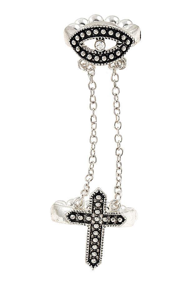 Evil Eye Chain Link Cross Ring