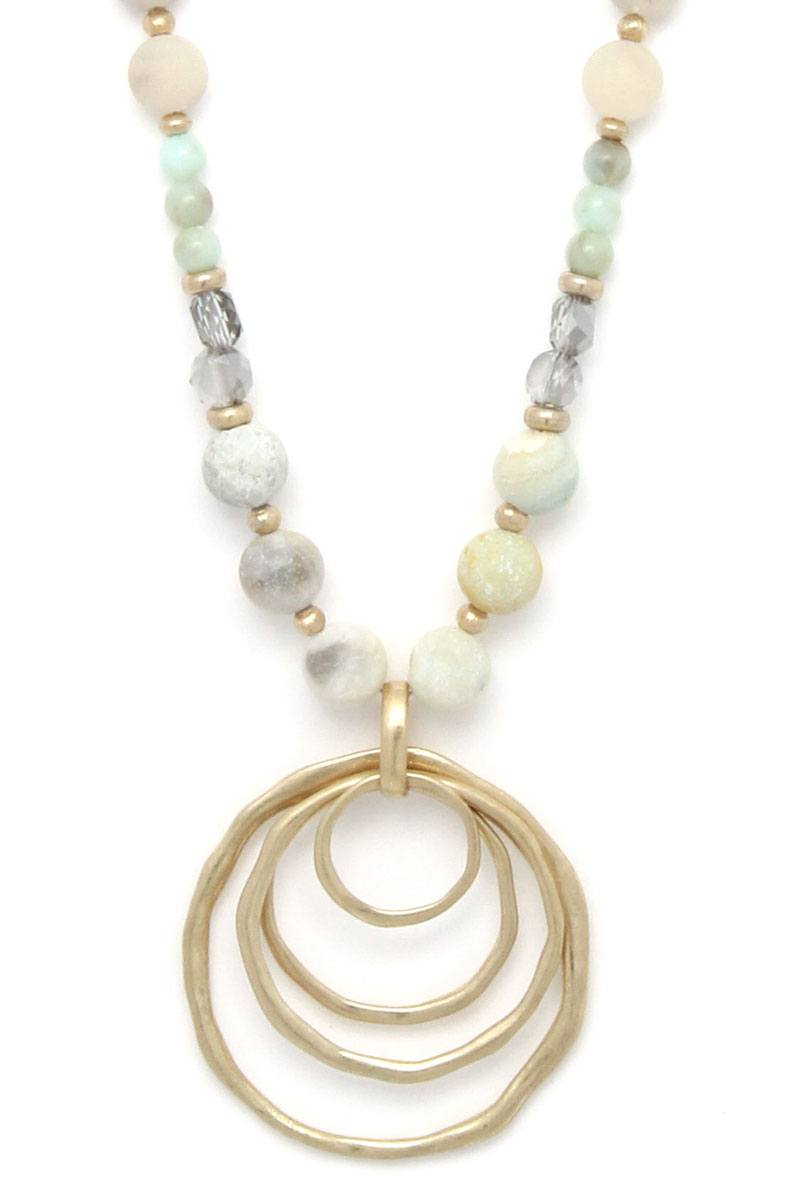 Hammered Circle Beaded Necklace
