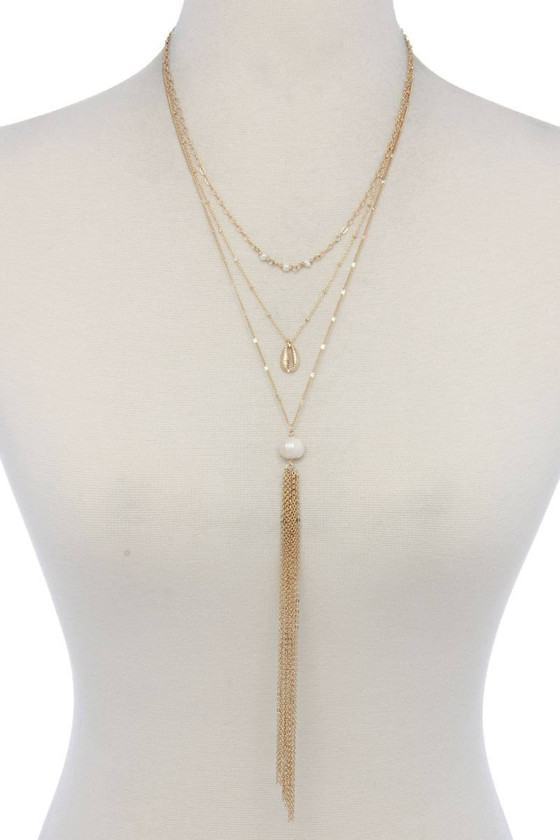 Pearl Bead Multi Layered Necklace