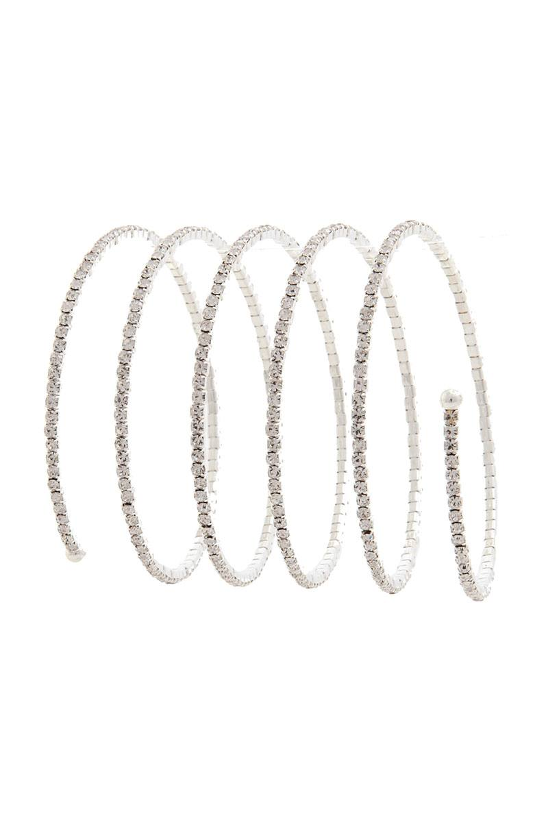 Spiral Pave Lined Rhinestone Ball Ended Bracelet