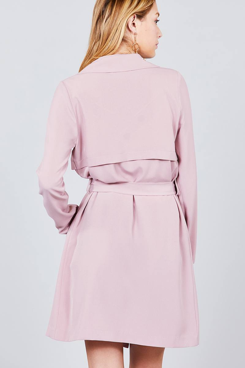 Long Sleeve Notched Collar W/waist Belt Long Jacket
