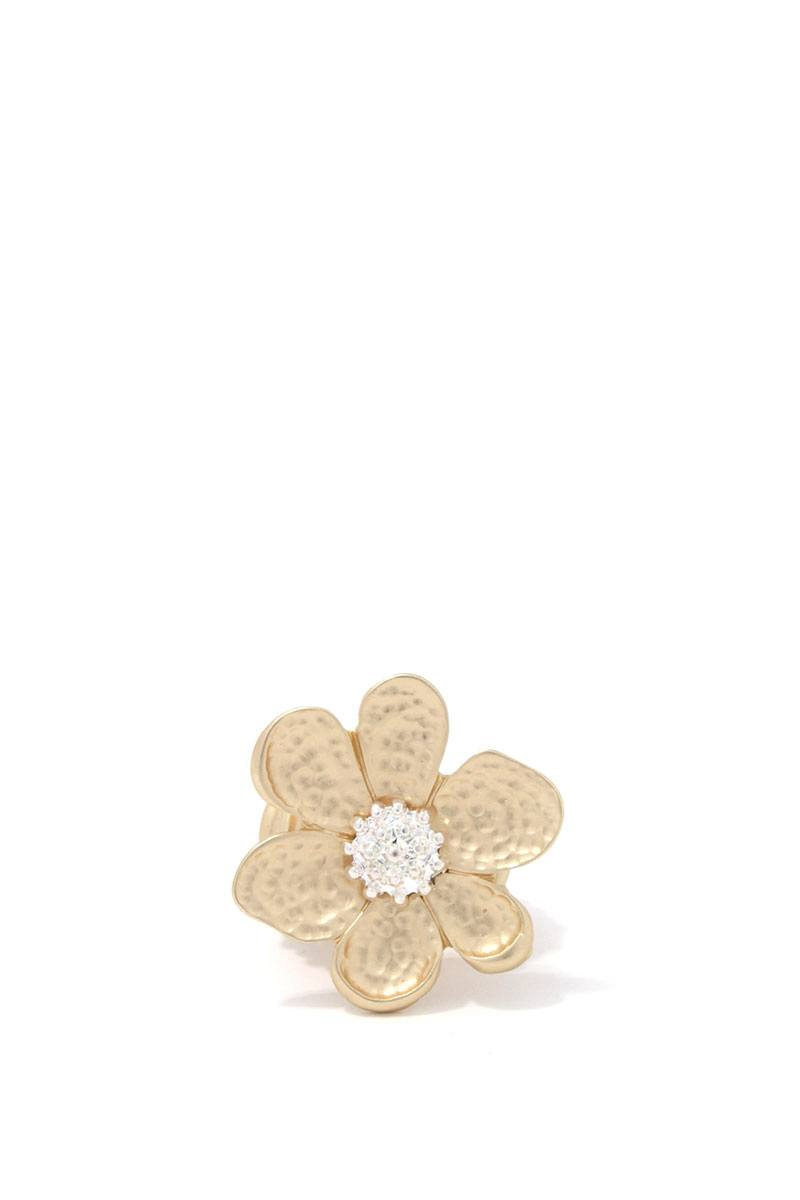 Hammered Flower Stretch Ring