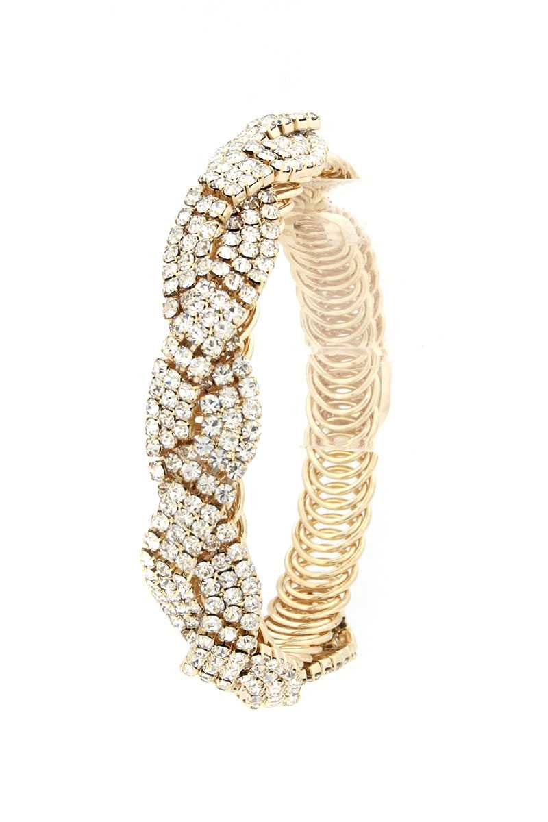 Flexible Rhinestone Metal Bracelet