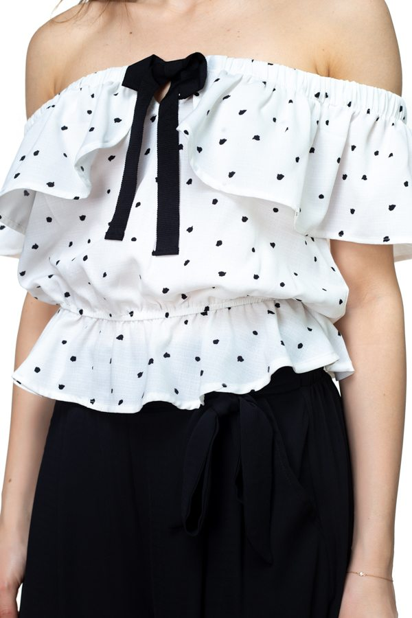 Splat Print Ruffle Cropped Shirt