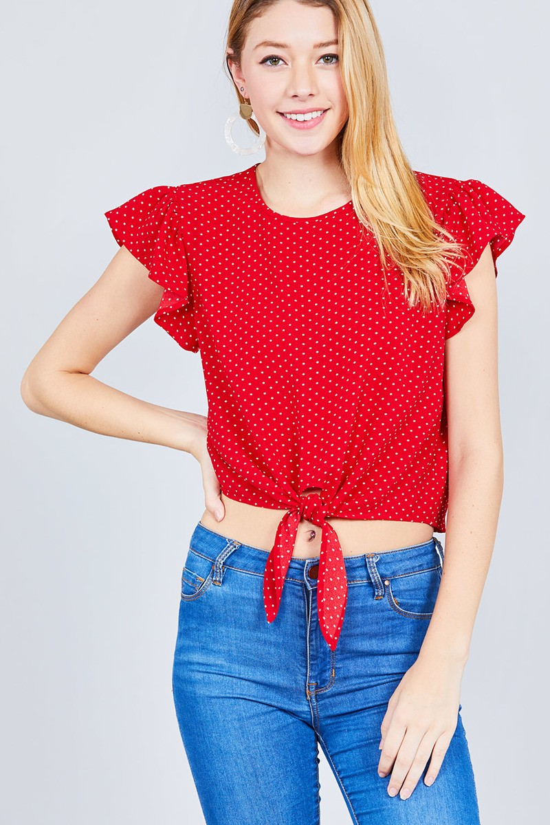 Ruffle Sleeve Round Neck Front Tie Dot Print Woven Top