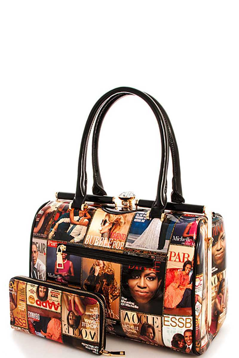 2in1 Designer Trendy Magazine Satchel With Long Strap