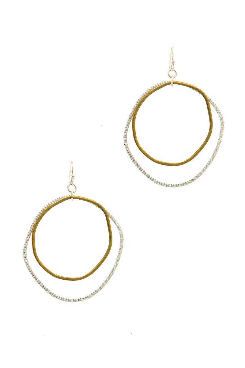 Chic Designer Double Hoop Drop Earring