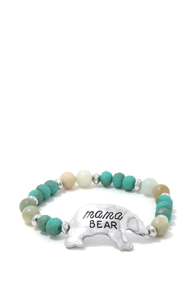 Mama Bear Beaded Stretch Bracelet