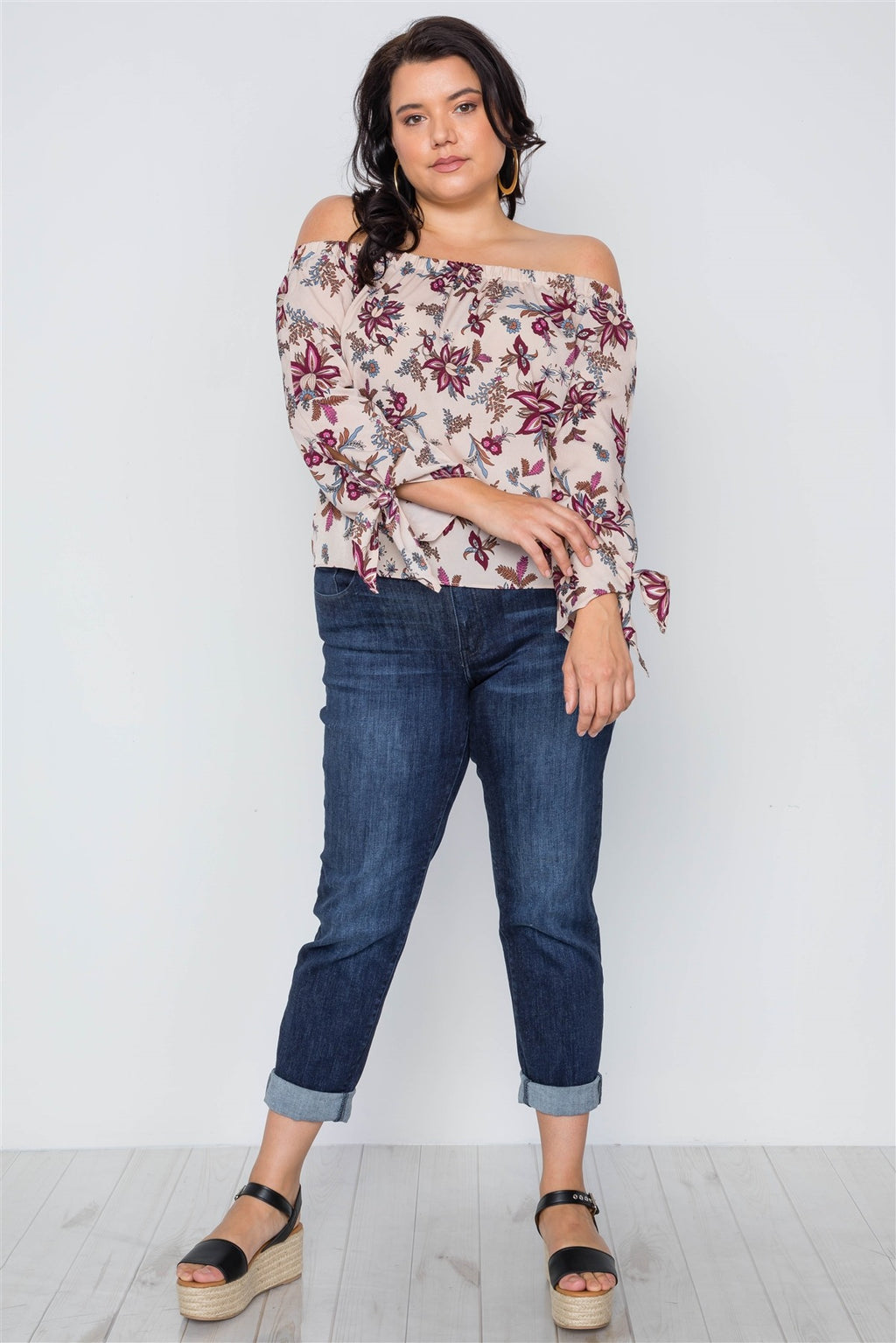 Plus Size Beigeoff-the-shoulder Floral Print Top