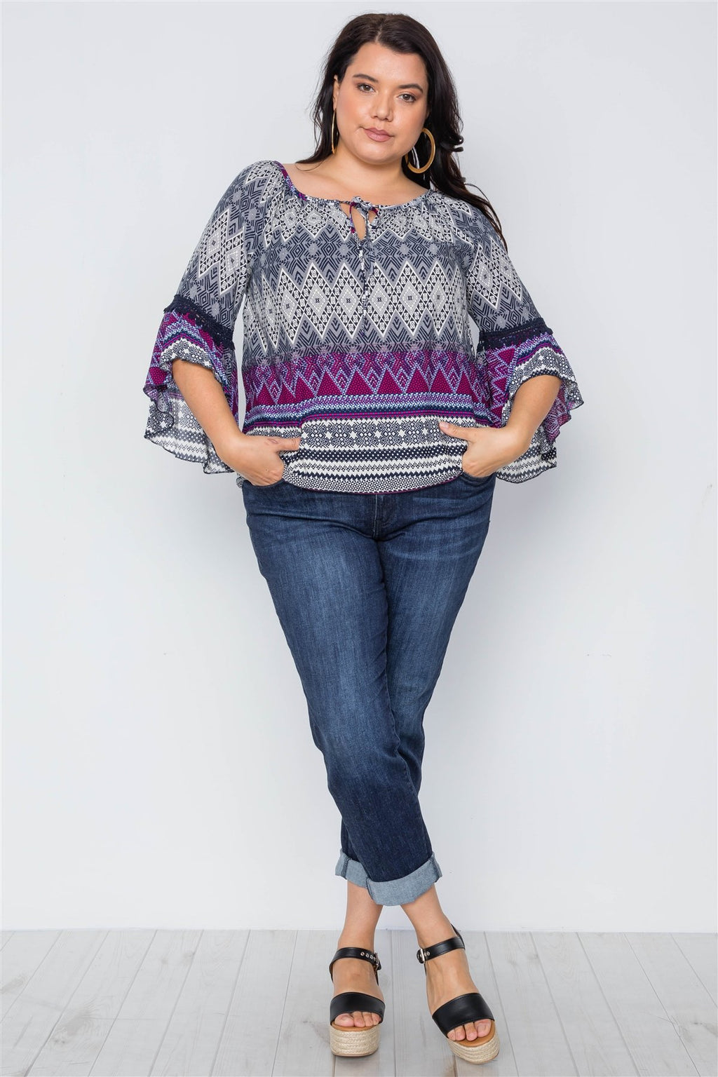 Plus Size Multi Print Bell Sleeve Boho Top