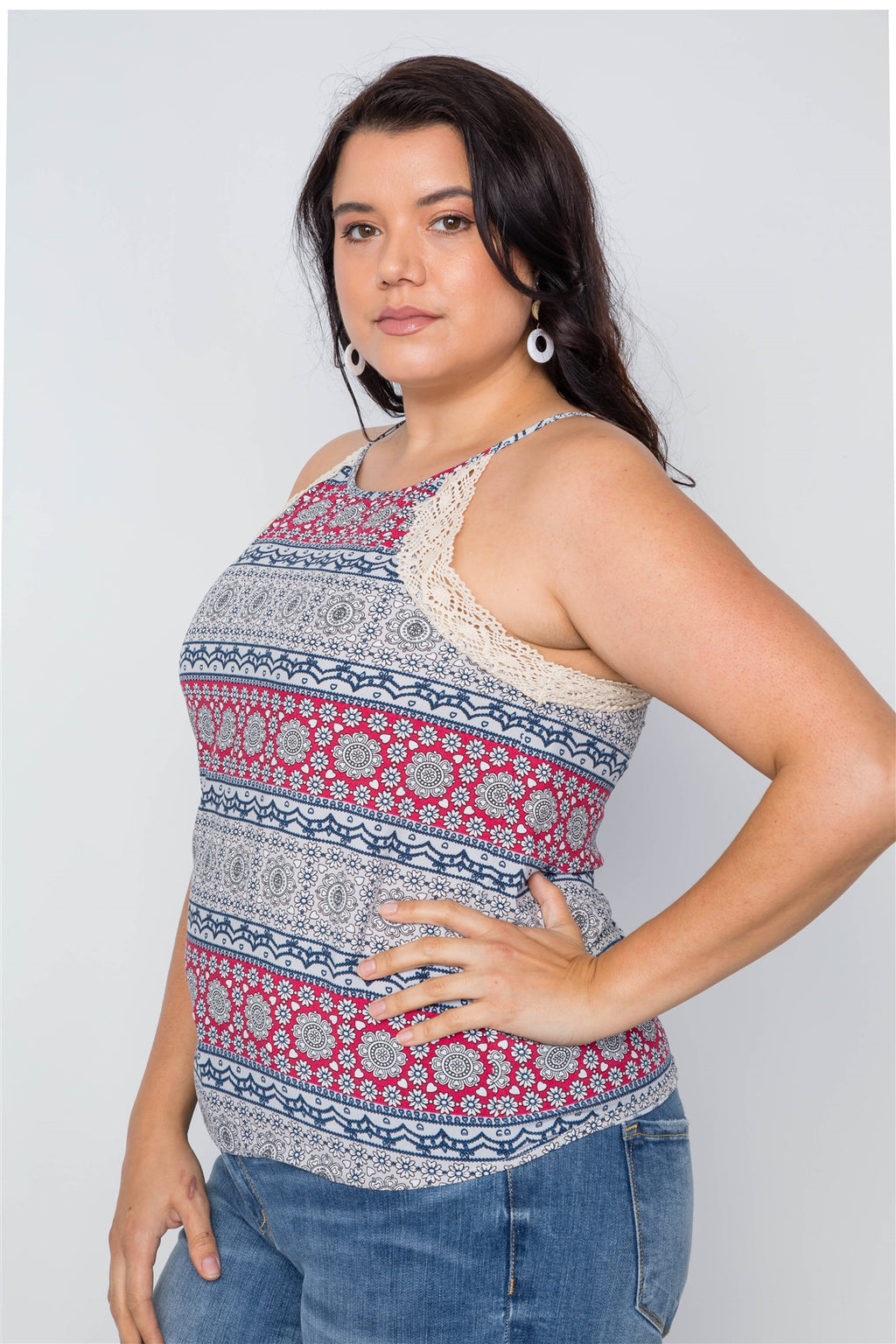 Plus Size Paisley Print Crochet Trim Cami Boho Top