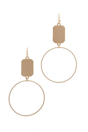 Circle Rectangular Shape Drop Earring