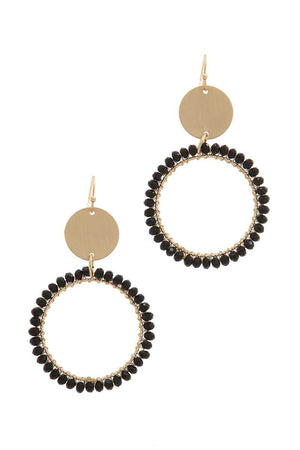 Metal Circle Beaded Ring Post Drop Earring