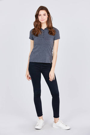 Classic Jersey Spandex Polo Top