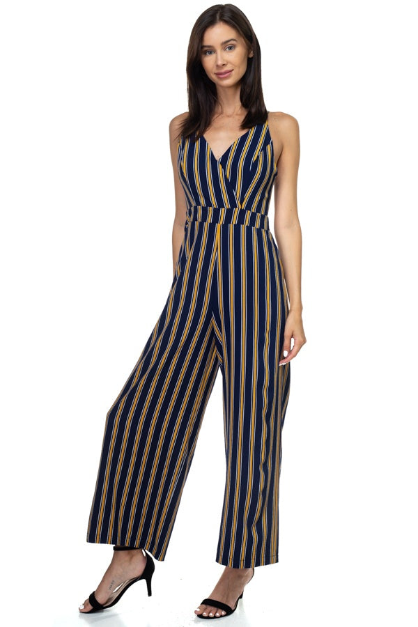 Stripe Back Self-tie Jumpsuit